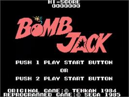 Title screen of Bomb Jack on the Sega SG-1000.