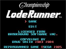 Title screen of Championship Lode Runner on the Sega SG-1000.