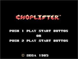Title screen of Choplifter on the Sega SG-1000.