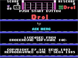 Title screen of Drol on the Sega SG-1000.