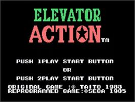 Title screen of Elevator Action on the Sega SG-1000.