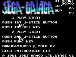 Title screen of Galaga on the Sega SG-1000.