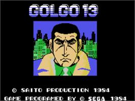 Title screen of Golgo 13 on the Sega SG-1000.
