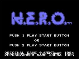 Title screen of HERO on the Sega SG-1000.