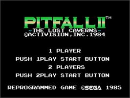 Title screen of Pitfall II on the Sega SG-1000.