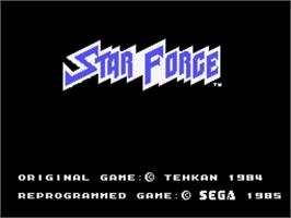 Title screen of Star Force on the Sega SG-1000.