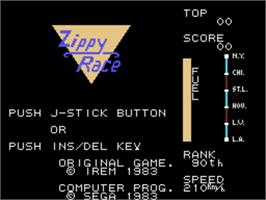 Title screen of Zippy Race on the Sega SG-1000.