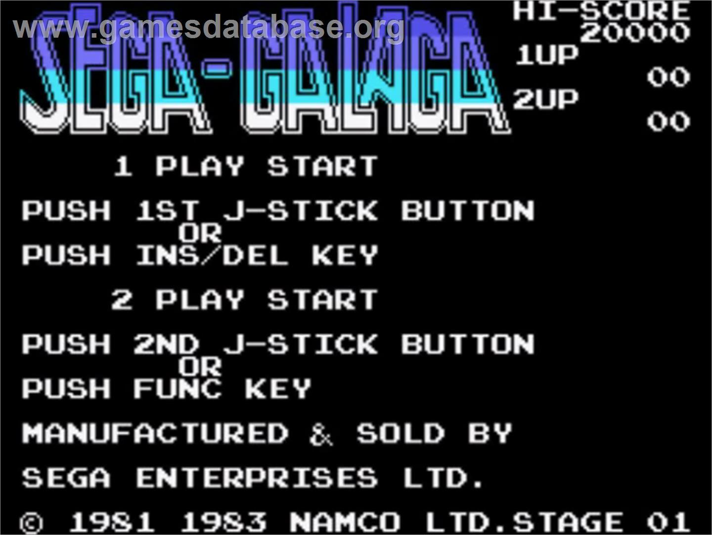 Title screen of Galaga on the Sega SG-1000.