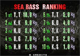 High Score Screen for Sea Bass Fishing.