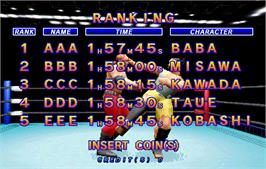 High Score Screen for Zen Nippon Pro-Wrestling Featuring Virtua.
