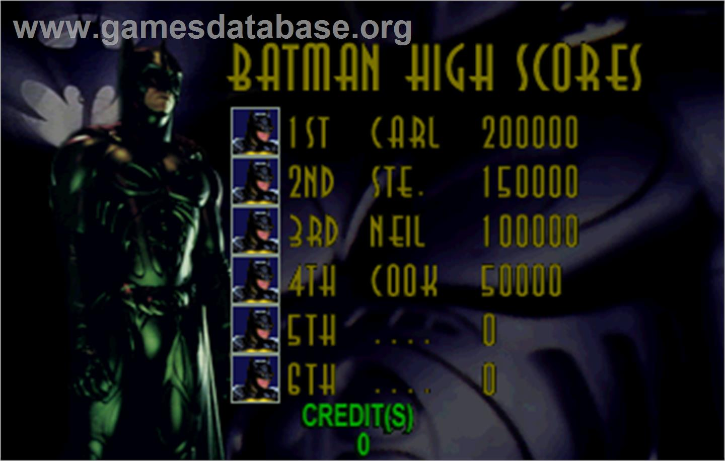 Batman Forever - Sega ST-V - Artwork - High Score Screen
