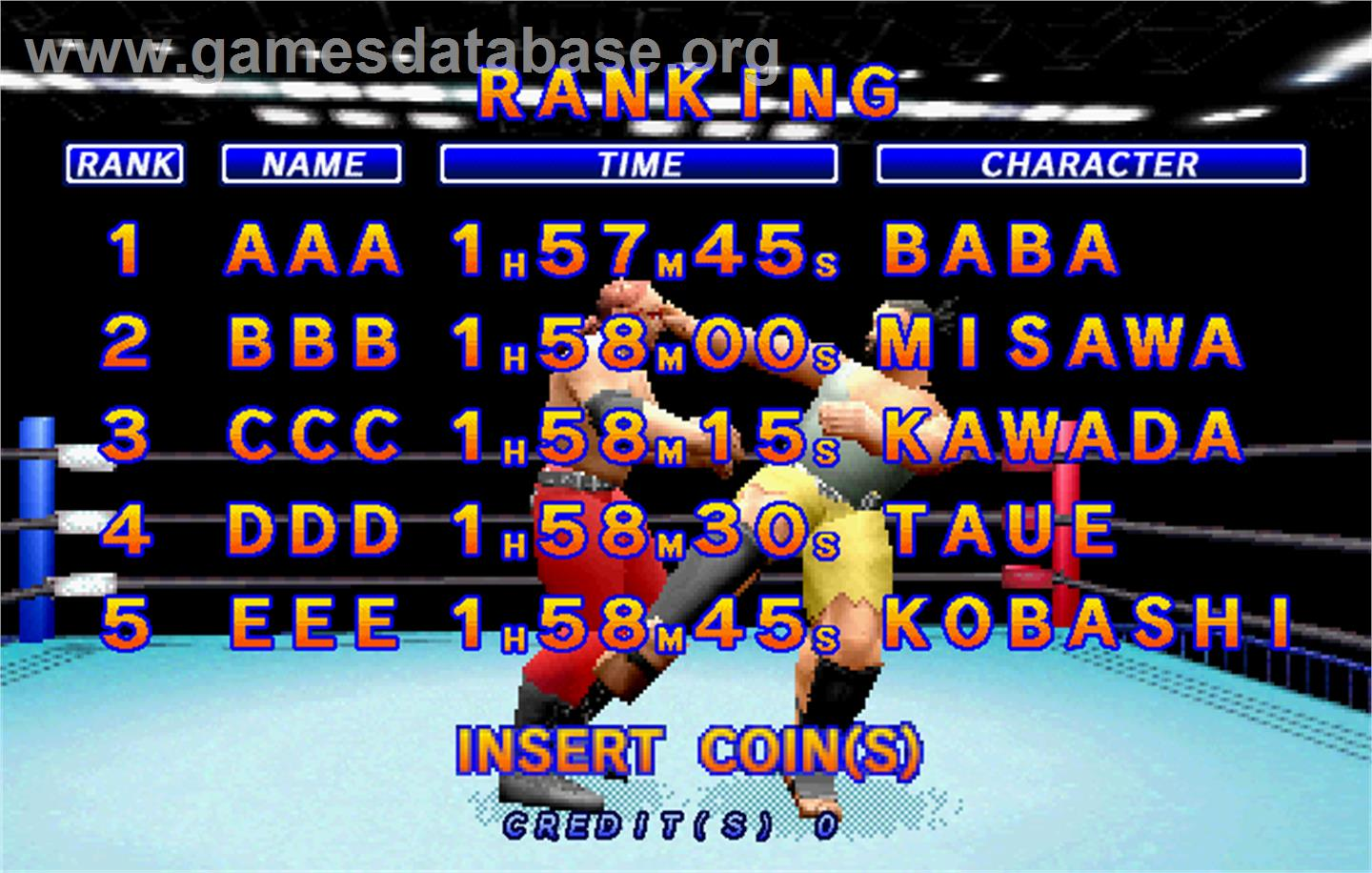 Zen Nippon Pro-Wrestling Featuring Virtua - Sega ST-V - Artwork - High Score Screen