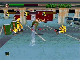 In game image of Dynamite Deka on the Sega ST-V.