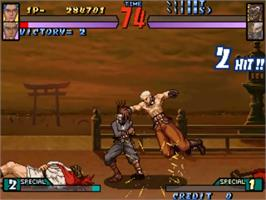 In game image of Groove on Fight - Gouketsuji Ichizoku 3 on the Sega ST-V.