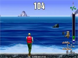 In game image of Sea Bass Fishing on the Sega ST-V.