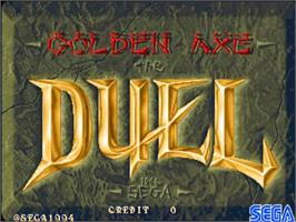 Title screen of Golden Axe - The Duel on the Sega ST-V.