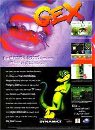 Advert for Gex on the Sony Playstation.