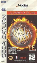 Box cover for NBA Jam TE on the Sega Saturn.