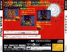 Box back cover for Break Thru on the Sega Saturn.