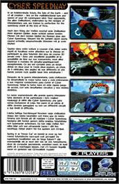Box back cover for Cyber Speedway on the Sega Saturn.