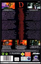 Box back cover for D on the Sega Saturn.