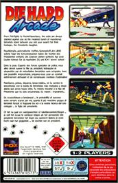 Box back cover for Die Hard Arcade on the Sega Saturn.