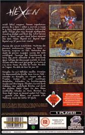Box back cover for Hexen on the Sega Saturn.