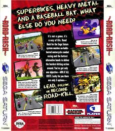 Box back cover for Road Rash on the Sega Saturn.