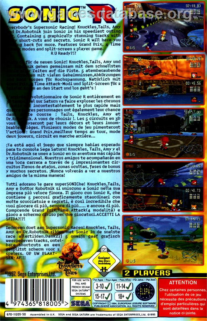 Sonic R - Sega Saturn - Games Database
