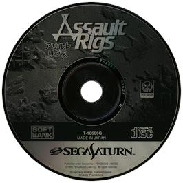Artwork on the Disc for Assault Rigs on the Sega Saturn.