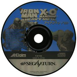 Artwork on the Disc for Iron Man / X-O Manowar in Heavy Metal on the Sega Saturn.