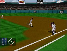In game image of 3D Baseball on the Sega Saturn.