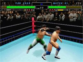 In game image of All Japan Pro Wrestling Featuring Virtua on the Sega Saturn.