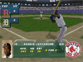 In game image of All Star Baseball '97 Featuring Frank Thomas on the Sega Saturn.
