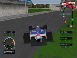 In game image of Andretti Racing on the Sega Saturn.