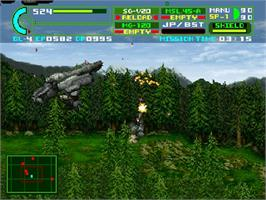 In game image of Assault Suit Leynos 2 on the Sega Saturn.