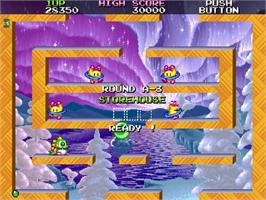 In game image of Bubble Symphony on the Sega Saturn.