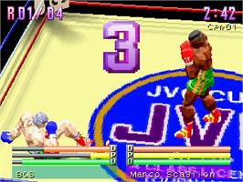 In game image of Center Ring Boxing on the Sega Saturn.