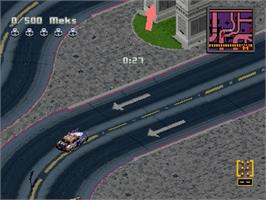 In game image of Crime Wave on the Sega Saturn.