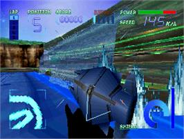 In game image of Cyber Speedway on the Sega Saturn.