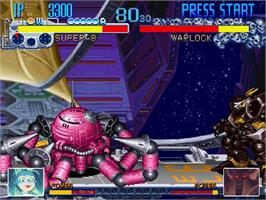 In game image of Cyberbots: Full Metal Madness on the Sega Saturn.