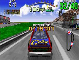 In game image of Daytona USA on the Sega Saturn.