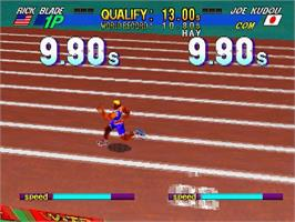 In game image of Decathlete on the Sega Saturn.