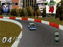 In game image of Destruction Derby on the Sega Saturn.