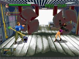 In game image of Die Hard Arcade on the Sega Saturn.