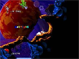 In game image of Earthworm Jim 2 on the Sega Saturn.