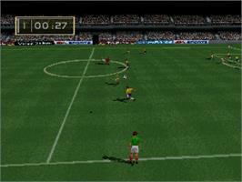 In game image of FIFA 96 on the Sega Saturn.