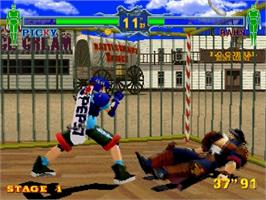 In game image of Fighting Vipers on the Sega Saturn.
