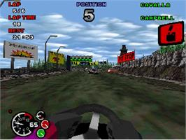 In game image of Formula Karts: Special Edition on the Sega Saturn.