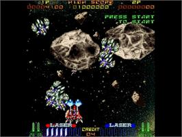 In game image of Galactic Attack on the Sega Saturn.